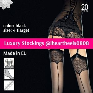 Luxury Stockings with Lace and Back Seam